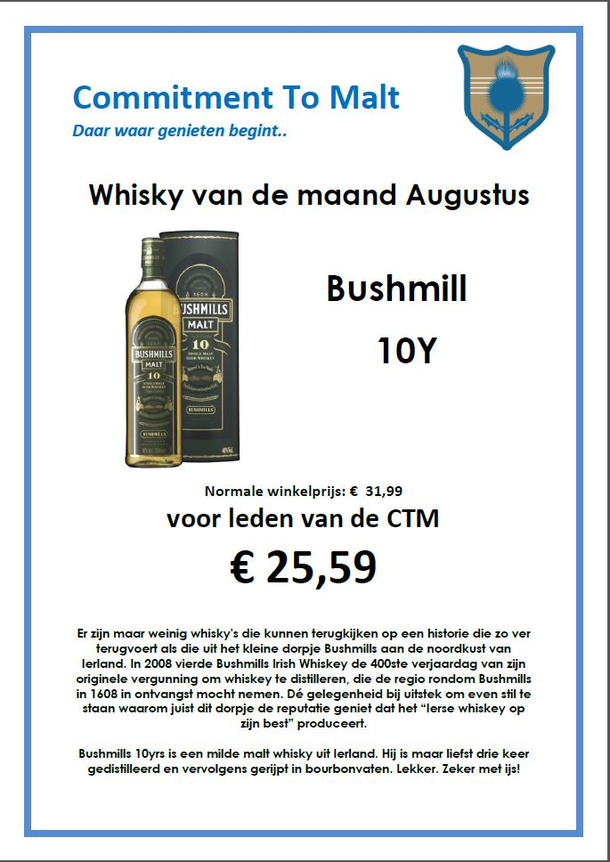 Whisky van de maand Augustus 2018 : Bushmill 10yo
